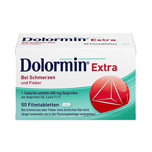 Dolormin Extra – Schnelle Hilfe bei Schmerzen – wie Kopf-, Zahn- und Regelschmerzen – mit Ibuprofen-Lysin – 50 Stück