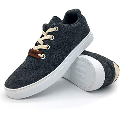 Herren Sneaker Canvas Filz Schuhe grau aus Merinowolle Bequeme Trachtensneaker Trachtenschuhe mit personalisierbaren Lederpatch Größe 43
