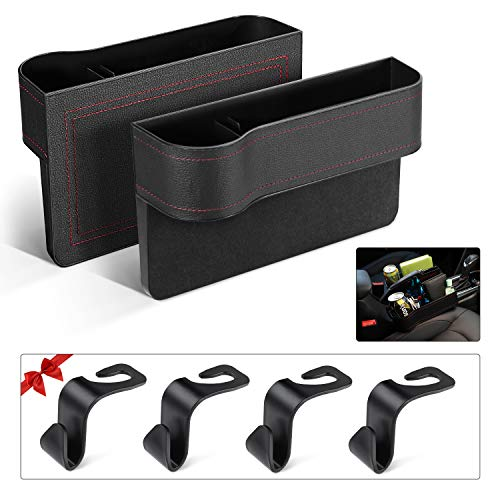 Car Seat Organizer Front Seat Gap Filler PU Leather Car Console Side Organizer Seat Pockets Catch Caddy Car Seat Storage Box with Cup Holder for Phone Key Card Coin Car Interior Accessories(2 Pack)