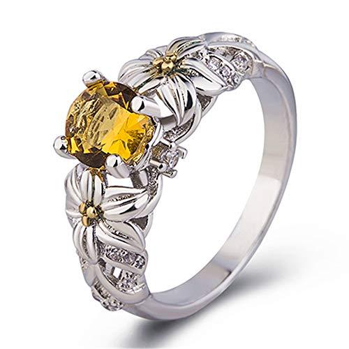 IWINO Yellow Diamond Princess Sun Flower Ring Europese luxe partij verlovingsring Zilveren sieraden