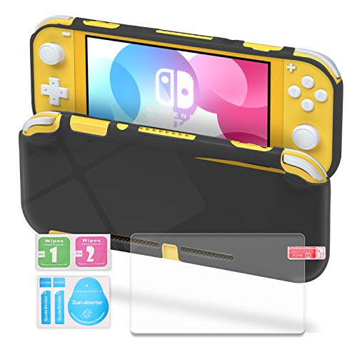 TPU Case Compatible with Nintendo Switch Lite, Clear Protective Case Compatible with Switch Lite with Tempered Glass Screen Protector - Gray