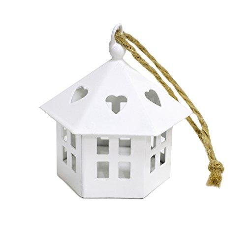 Lanterna MINI CASETTA Esagonale Bianca in metallo 8 cm di altezza - porta lumino candela tea candle latta
