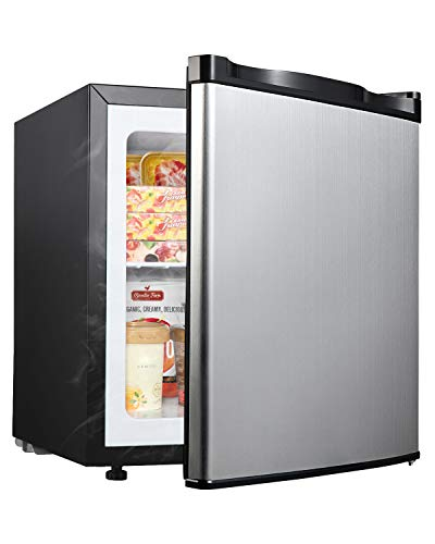 Upright Freezer - Compact Reversible Single Door Table Top Mini Freezer - Free Standing Freezing Machine with Removable Shelf(Silver, 1.1 Cubic Feet)