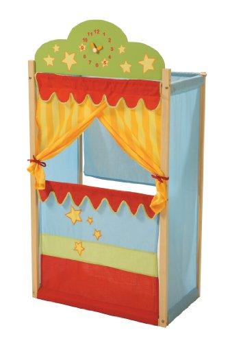 roba Kasperletheater, Puppentheater mit Uhr, Stand-Kaspertheater aus Massivholz mit Stoffbespannung,
