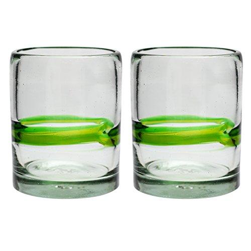 Verre à Whisky artisanal – Verre recyclé – vert mélangé (Gobelets Tumbler) – Par 2 pièces