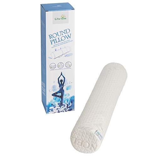 LitoTree - Cojín redondo para cuello y cuello de espuma viscoelástica con cojín cervical extraíble lavable y suave para columna vertebral y cuello, espalda lumbar, soporte para vértebra