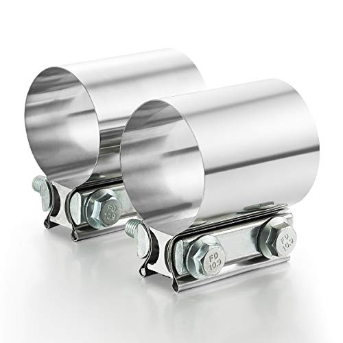 A-KARCK Exhaust Clamp 2.5 Inch Diameter, 2.5 Inch Butt Joint Band Clamp Stainless Steel Exhaust Coupler Prevent Leaks