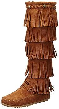 Minnetonka Women s 5-Layer Fringe Boot,Brown,9 M US