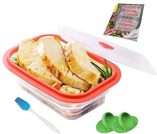 Crisolux Estuche Vapor microondas Silicona vaporera microondas Papillote para cocinar al Vapor Lavado facil al lavavajillas (3-4 Personas 1200ml)