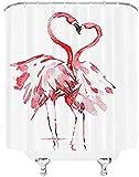 lovedomi baño Flamenco Abstracto Dos flamencos representación Rosa Cortina Ducha decoración residencial Moderna Cortina Ducha Tela poliéster Impermeable 72x72 Pulgadas con 12 Ganchos plástico