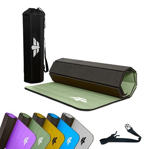 LIMYTI - Esterilla de fitness 2.0 de 2ª generación, para gimnasio, gimnasio, yoga, plegable, suave, económica, antideslizante, bolsa y cinturón de 1 cm y 8 mm
