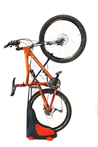 Roll & Store Space Saving Bike Stand For Indoor & Outdoor - Lightweight Patent that suits ALMOST ALL Bicycle Types (MTB, Road, BMX), Built-In Side Storage Units, No Mounting Required, 2 Positions: Ver