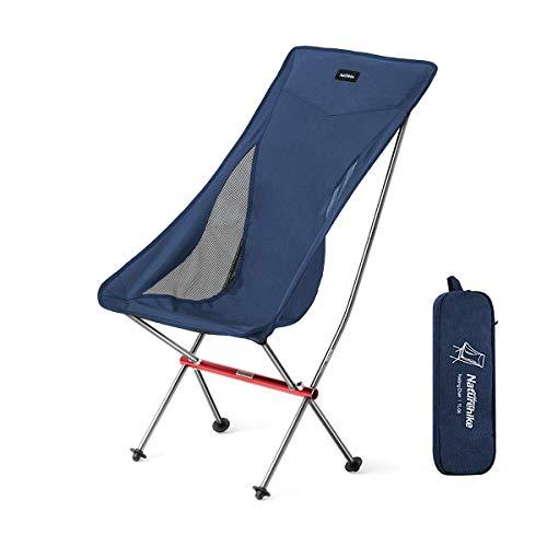 Naturehike アウトドアチェア ハイバック 超軽量 キャンプ椅子 折りたたみ コンパクト 背もたれ イス ヘッドレスト付 お釣り ピクニック ハイキング 収納バッグ付 耐荷重150kg (ブルー)