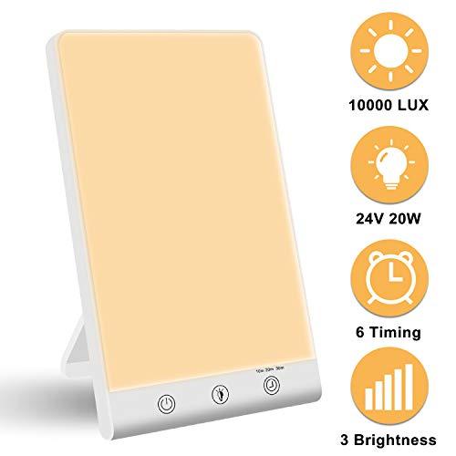 Tageslichtlampe 10000 Lux, LED Lichttherapie lampe mit 3 Stufenhelligkeit, UV-freie Schreibtischlampe Tageslicht, Vollspektrumlampe mit Stufenlosem Dimmer, Lichttherapielampe gegen Depressionen
