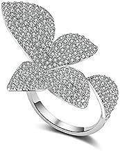 Mytys Big Leaf Rings for Women Elegant Unique Design Silver Flower Open Adjustable Love Fashion Party Finger Accessories
