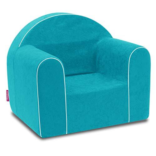 Mini sillón infantil para bebé, sillón, sofá, silla infantil, silla de espuma, respetuoso con el medio ambiente (azul claro)