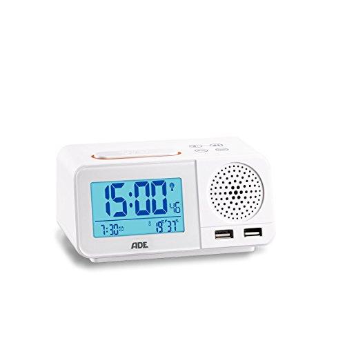 ADE CK1708 Digitaler Radiowecker mit Funkuhr, 2 Weckzeiten, Snooze, LCD-Display, Thermometer, Hygrometer, UKW Radio und Kalender, Inoxidable, Weiß