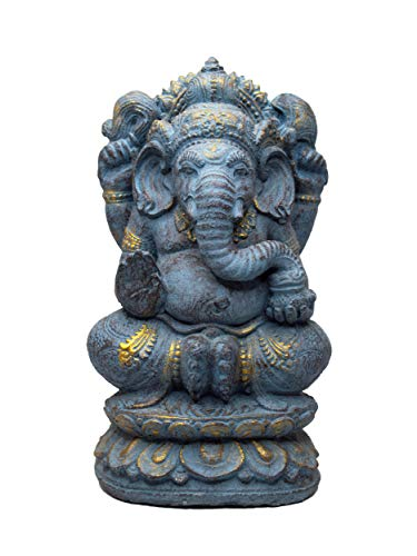 FaHome Ganesha Stein Figur Hindu Gottheit Skulptur Glück Statue ca. 35 cm Elefant-Kopf Blau