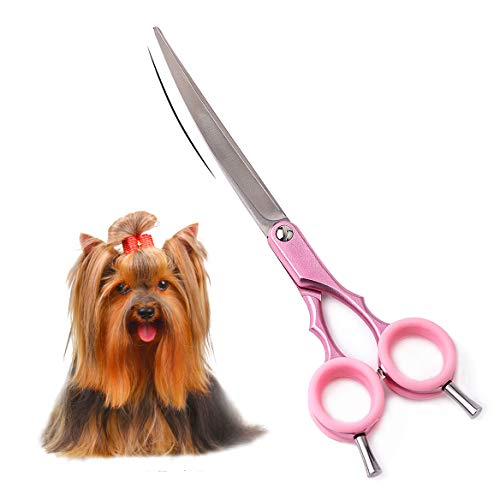 TooSharp Pet Grooming Curved Scissor - Premium Professional Sharp Trimming Shears Designed for Right/Left handers for Face, Nose, Ear and Paw Hair of Dogs and Cats