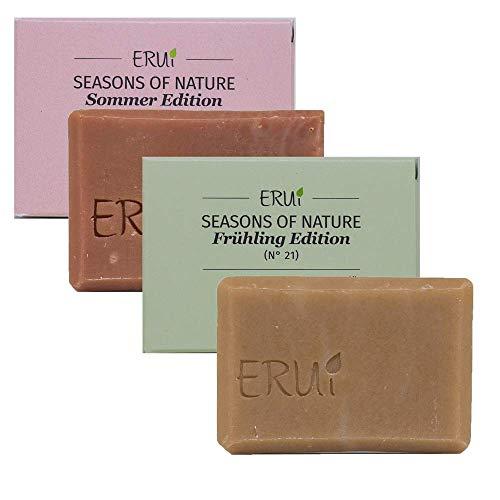 ERUi® 2x Bio Naturseife Set - Ohne Palmöl, Zusätze & Duftstoffe - 100% biologisch abbaubare Bioseife für Haut und Haare, Handgemachte Bio Seife vegan (2 x 55 g)