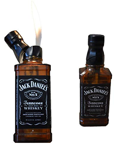 ESH Jack Daniels Feuerzeug Elektronik Gasfeuerzeug Jack Daniel's Whiskey Flasche Gasfeuerzeug - Nachfüllbar - Einstellbar