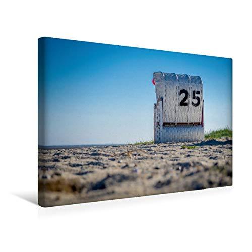 CALVENDO Premium Textil-Leinwand 45 cm x 30 cm quer, Strandkorb in Hooksiel im Landkreis Friesland | Wandbild, Bild auf Keilrahmen, Fertigbild auf echter Gemeinde Wangerland Orte Orte