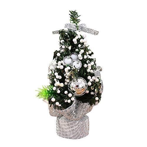 LMMVP Décoration de Bureau d'arbre de Noël, Mini Joyeux Sapin de Noël Chambre Décoration de Bureau Cadeau de Poupée de Jouet Bureau Accueil Enfants (Argent, 20cm)