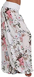 KWENG Ladies Bohemian Floral Trousers Mid-waist Retro Harem Pants Elastic Waist Boho Beach Pants Plus Size 5XL (Color : White, Size : 5XL)