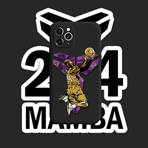 XMYP Kobe Funda para iPhone 12/12 Pro, 12 Mini, 12 Pro Max, Simple Fashion Silicona Anti-Caída Funda Protectora Negro Mamba Case Cover para Niños Hombres Adolescentes A- 12 Mini