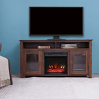 LOKATSE HOME Electric Log Insert Fireplace Heater with Realistic Ember Bed, 23 inch, Black-real frame