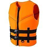 ZHENGRUI Chalecos Salvavidas Adultos,Accesorios Deportes Acuáticos Dispositivo Flotación Personal Vela Surf Pesca Kayak Chaqueta Chaleco,Orange-S