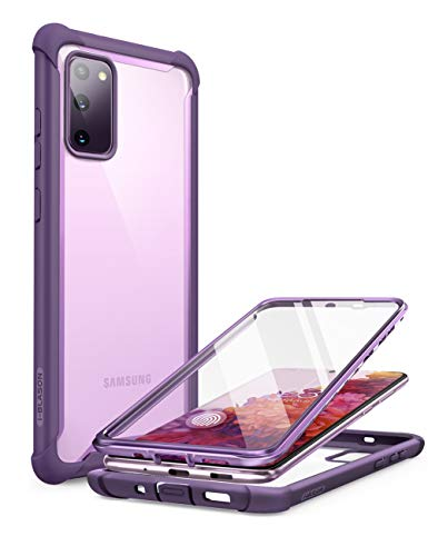 i-Blason Ares Series Designed for Samsung Galaxy S20 FE 5G Case (2020 Release), Dual Layer Rugged Clear Bumper Case with Built-in Screen Protector (Purple) New York