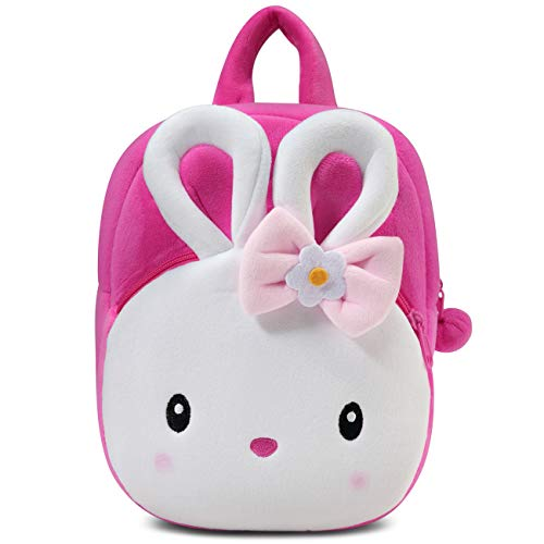 Toddler Backpack for Girls,ChaseChic Cute Mini Plush Baby Backpack Lightweight Bunny Backpacks Animal Cartoon Snack Bag for Daycare Baby Girls 1-6 Year