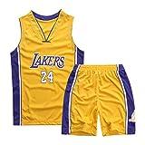 GAOXI Jersey para niños-Laker 24# Camiseta de Baloncesto Bordado Transpirable Baloncesto Suelto y cómodo Chaleco sin Mangas Traje XS-XXL Yellow-M