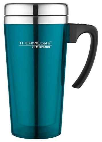 THERMOS ThermoCafé Gobelet Isotherme en Plastique et Acier Inoxydable avec poignée Souple 420 ML, Plastique, Toucher Doux Lagoon, 420 ML