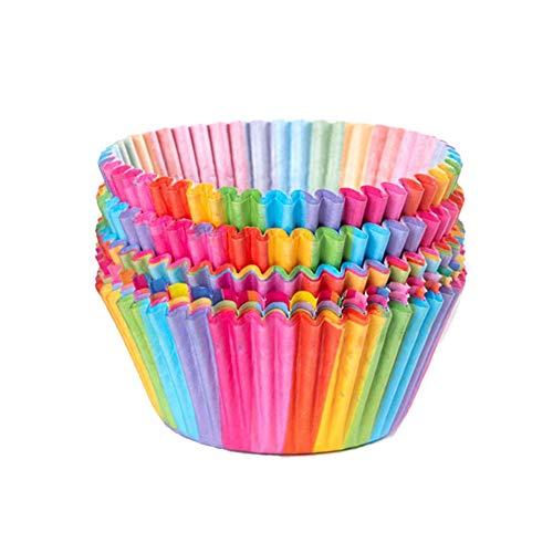 Cupcake Cases, Kuchen Pappbecher Regenbogen Backbecher für Haushalt Ofen Hochzeit Party Geburtstag 100PCS