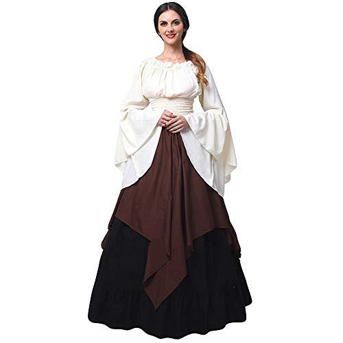 HuaCat Mittelalterliches Kostüm von Magd Frau Vintage Renaissance mittelalterlichen Kleid Gothic Phantasie Cosplay Rock Prinzessin