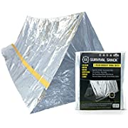 SharpSurvival Emergency Survival Shelter Tent   2 Person Mylar Thermal Shelter   8' X 5' All Weather Tube Tent   Reflective Material Conserves Heat   Lightweight   Waterproof   Best Survival Gear