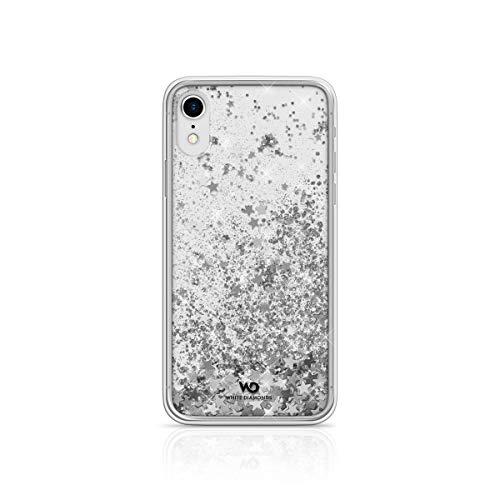WHITE DIAMONDS Cover con Glitter FLUTTUANTI Silver Star per iPhone XR, trasparente