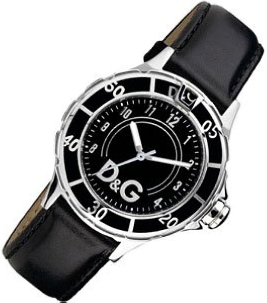 Dolce & gabbana,orologio da polso da uomo,cassa in acciaio inossidabile e cinturino in vera pelle DW0580
