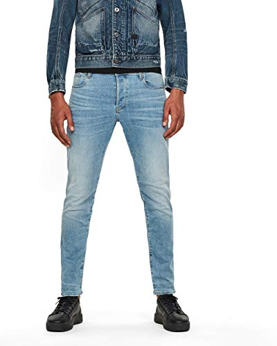 G-STAR RAW Herren Jeans 3301 Slim Fit, Lt Indigo Aged 8968-8436, 33W / 34L