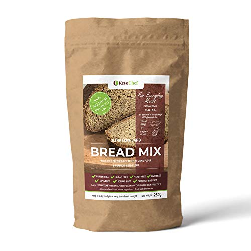 New Upgraded Version Gluten Free Ultra Lowcarb Bread Mix (CH 6g/100g) with Cold Pressed defatted Almond Flour. Perfect for Ketogenic and Any Atkins Diet