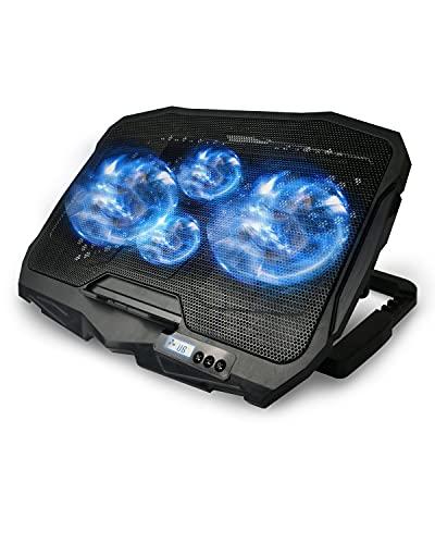 Maxesla Base Refrigeradora Portatil, 4 Ventiladores silenciosos y Pantalla LCD Ventilador Portatil, 2 Puertos USB y luz LED Azul, 4 ajustes de Altura, 10-16.5 Pulgadas Refrigerador Portatil, Negro
