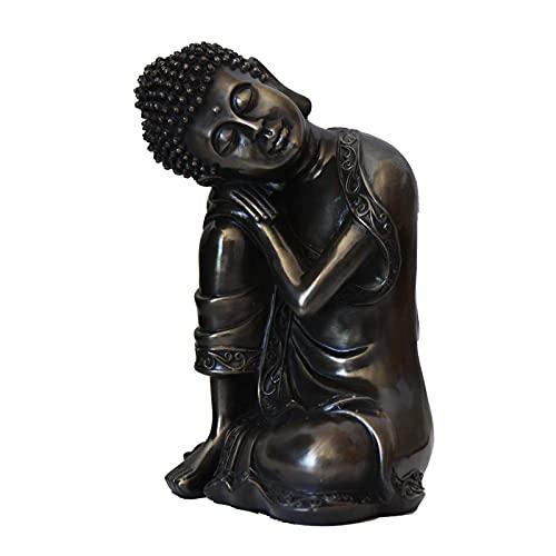 Carefree Fish Sleeping Buddha Statue Wall Home Buda Figurine Zen Decor Meditation Decoration(Sculpted Cold Cast Bronze) 8Inch