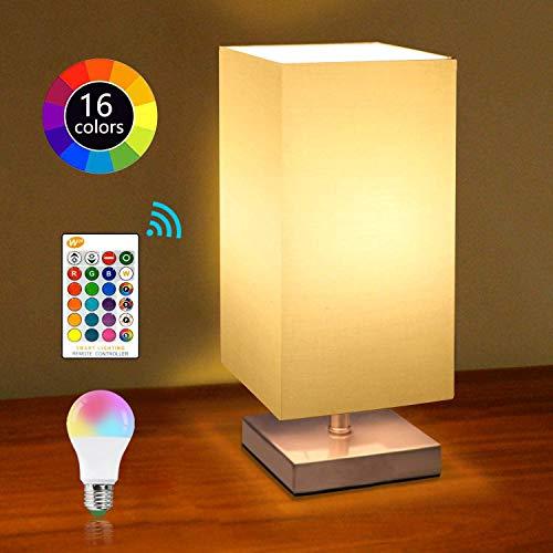 E27 LED Nachttischlampe Dimmbar mit Fernbedienung, Retro Lampenschirm Tischleuchte mit Fassung & Kabel, Tischlampe Stoffschirm für für Schlafzimmer, Wohnzimmer, Hotel, Café [ Neue 2020 Version ]