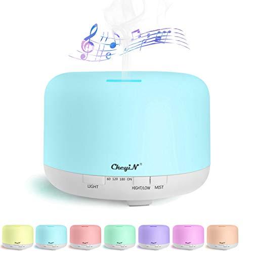 700ML Diffusore per aromaterapia musicale,Diffusore di Oli Essenziali,Umidificatore Ultrasuoni Altoparlanti Bluetooth 7...