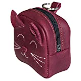 Hide & Drink, Leather Mini Backpack Cat Coin Purse/Wallet/Case/Cable Pouch/SD Card Holder/USB Organizer, Handmade - Sangria