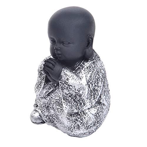 B Blesiya Chinesische Sitzende Mönch Buddha Figur Statue Glücksbringer Fengshui Dekor - Silber