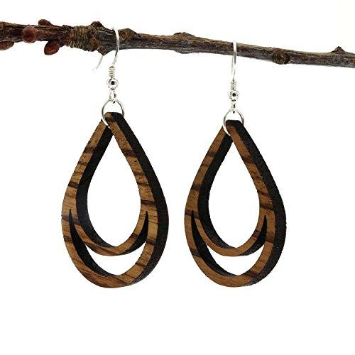 NaturSchatulle Holzschmuck Holzohrringe Tropfen Zebrano I natürliche Ohrhänger 925 Sterling Silber Ohrringe Holz Damen Ohrschmuck