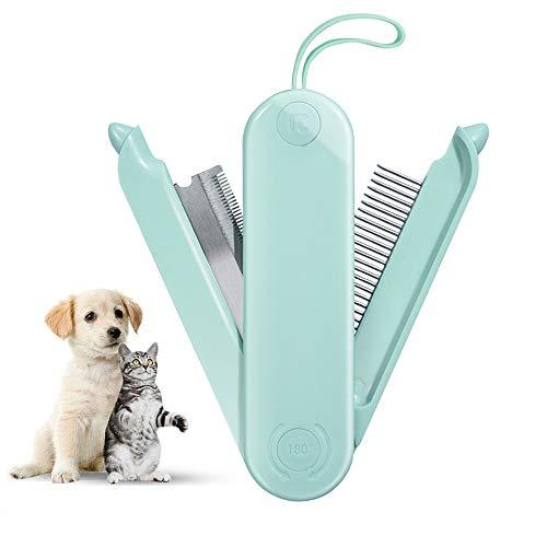 ALEENFOON Spazzola pieghevole 2 in 1 per cani e gatti per pelo nodo, spazzola per la toelettatura di cani e gatti per capelli lunghi o corti